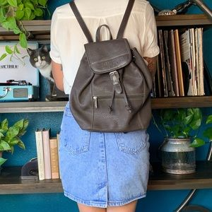 VINTAGE ESPRIT SMALL BACKPACK BROWN LEATHER